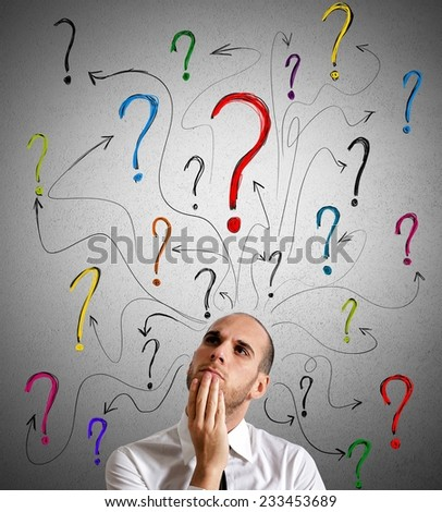 A businessman gets questions about his work - stock photo