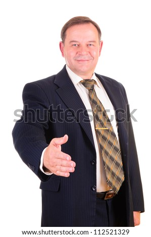 A businessman giving a hand, isolated on white background - stock photo