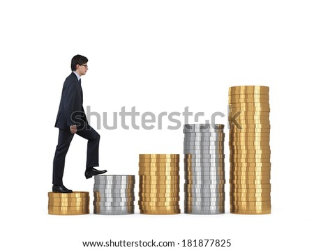 A businessman going up, golden and silver stair.