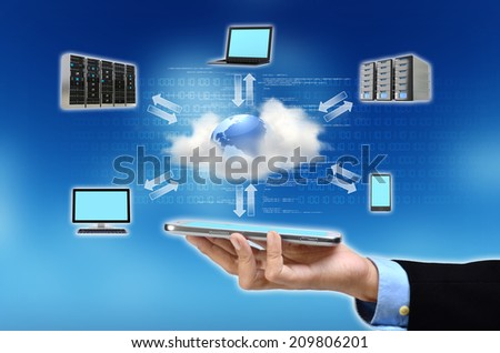A businessman hand holding and showing the concept of cloud computing internet technology in his hand - stock photo