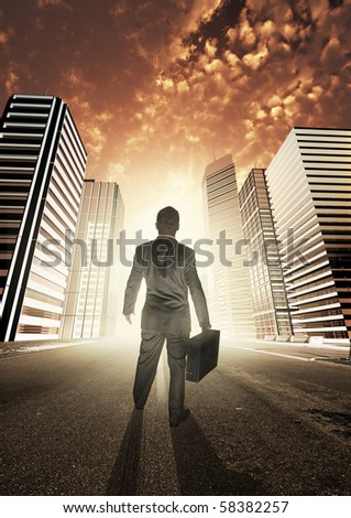 A businessman heading into a new city, exploring new opportunities. - stock photo