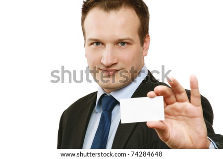 A businessman holding a blank