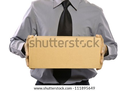 A businessman holding a package parcel isolated on white - stock photo