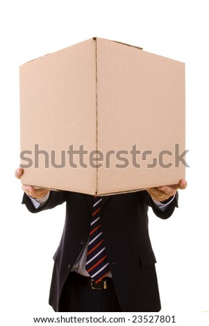 a businessman holding a package (selective focus)) - stock photo