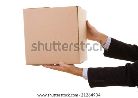 a businessman holding a pile of package parcels (isolated on white) - stock photo