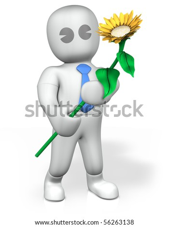 A businessman holding an orange flower against white background - stock photo