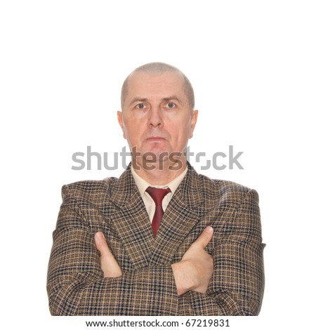 A businessman holding his hand. Isolated on white. Body language. Defensive. Protective. - stock photo