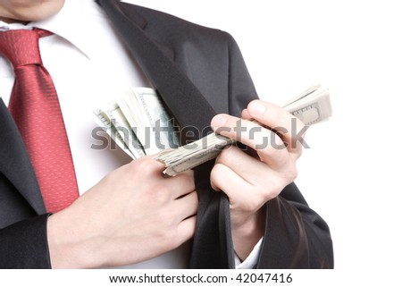 A Businessman Holding Money on white background - stock photo