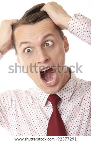 A businessman in trouble making brainstorm on white background
