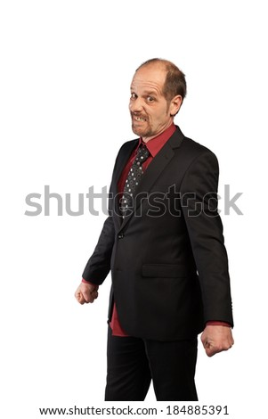 A Businessman is really angry with clenched fist. - stock photo