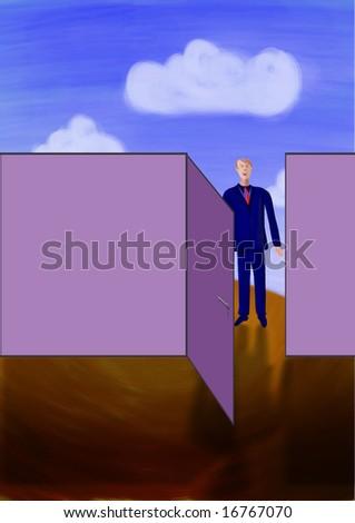 A businessman is standing in front of an open door - stock photo