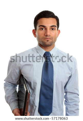 A businessman, IT consultant or IT technician wearing shirt and tie and holding a laptop computer.  White background. - stock photo