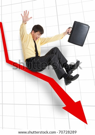 A businessman moving down on an arrow and screaming - stock photo