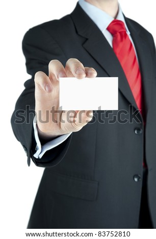 A businessman offering business card - stock photo