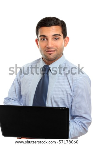 A businessman, office worker or IT consultant using a laptop computer.  White background. - stock photo