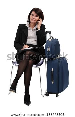 A businessman on a trip. - stock photo