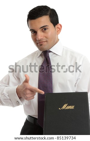 A businessman or waiter holding a leather bound menu or other document. - stock photo