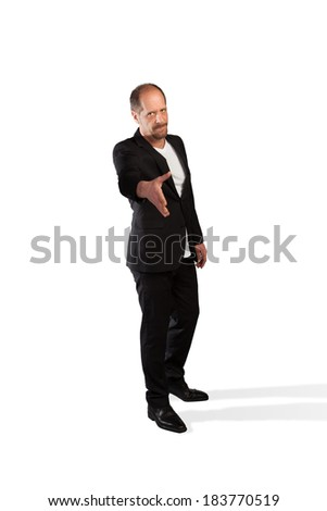 A Businessman outstretched his hand for a handshake on a white background. - stock photo