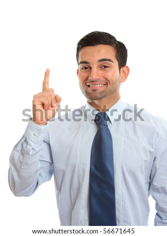 A businessman pointing finger, first, number one, idea,  etc.  White background. - stock photo
