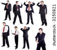 A businessman poses collection. Isolated on white. - stock photo