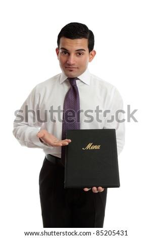 A businessman restauranteur presenting, showing a leatherbound menu. - stock photo