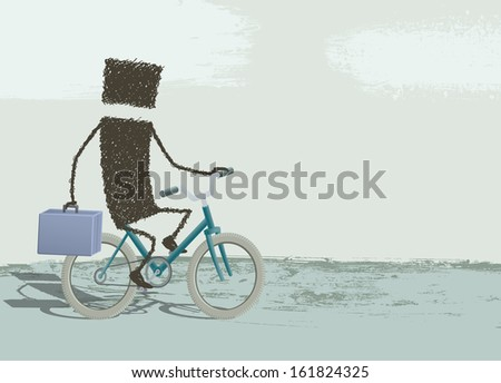 A businessman riding a bike and taking the briefcase in hand. - stock photo