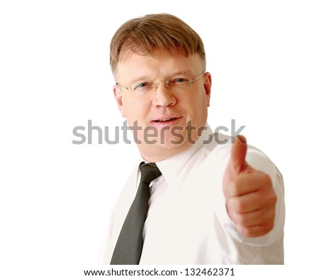 A businessman showing ok, closeup, isolated on white background