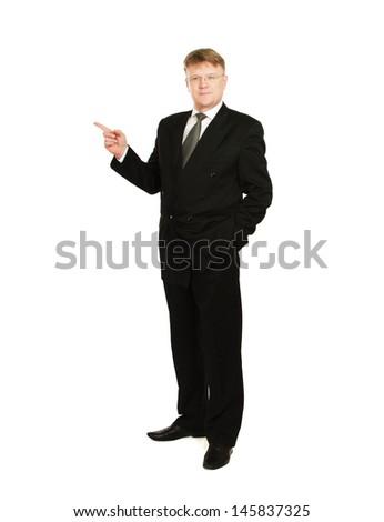 A businessman showing something , isolated on white background - stock photo