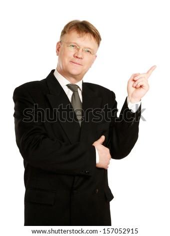 A businessman showing something, isolated on white background - stock photo
