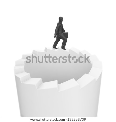 A businessman walking on endless stairs - stock photo