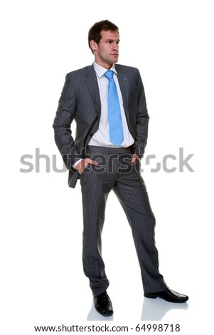 A businessman wearing a grey pinstripe suit and blue tie, isolated on a white background.