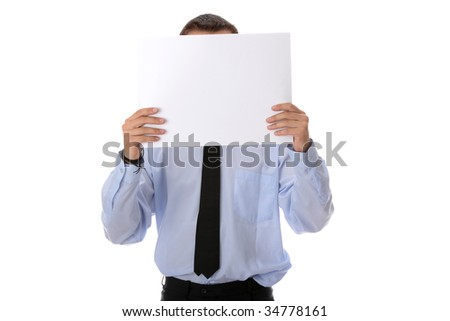 A businessman with a blank paper in his face isolated on white