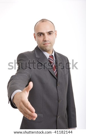 a businessman with his hands ready to shake
