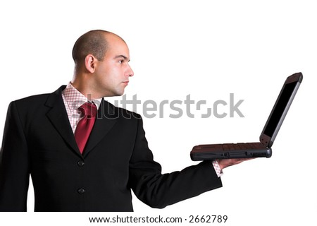 A Businessman with laptop computer on white background