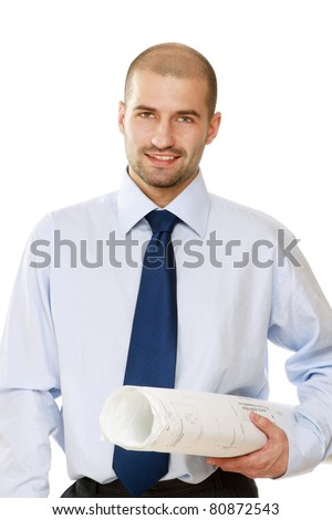 A businessman with papers is standing on white background