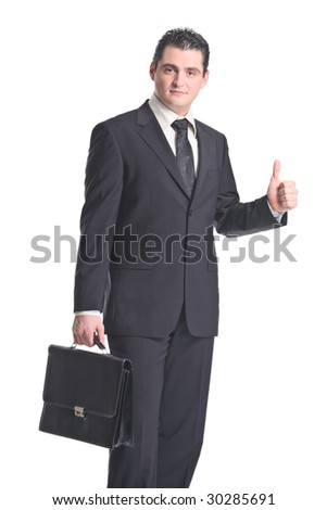 A businessman with thumbs up isolated on a white background - stock photo