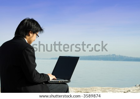 A businessman working on his laptop at the beach - stock photo