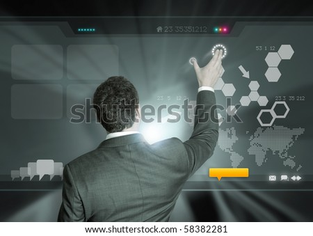 A businessman working on modern technology. - stock photo