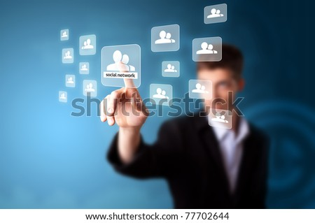 A businessman working on modern technology, selective focus - stock photo