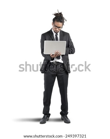 A businessman working with his professional laptop - stock photo