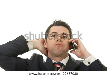 A businessman worries about bad business news or crisis - stock photo