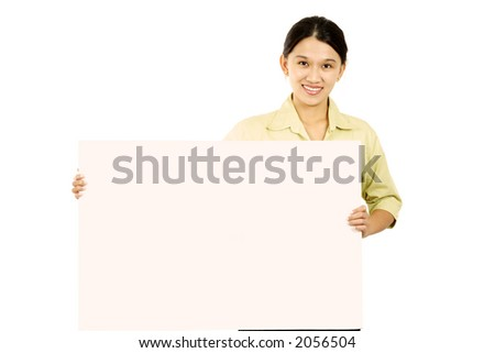 A businesswoman carrying a blank display card