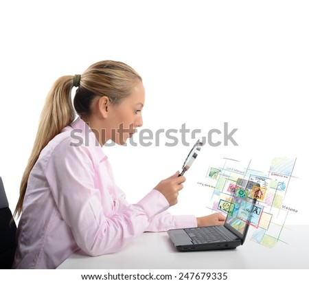 A businesswoman check and verify her system - stock photo