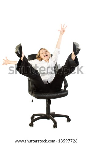 A businesswoman expressing joy in her chair on a white background