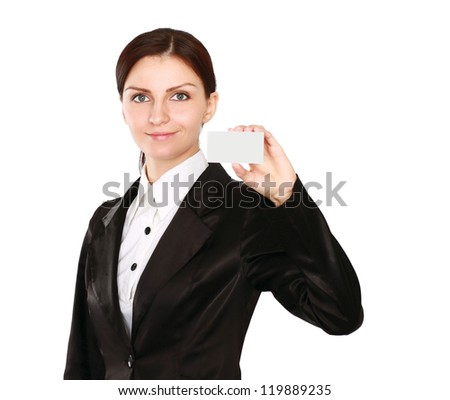 A businesswoman holding a blank, isolated on white background - stock photo