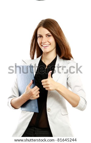 A businesswoman holding a folder with thumb up sign, isolated on white background