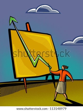 A businesswoman pointing to a sales chart