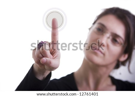 a businesswoman pressing a hi-tech button (you can write your command on the button: login, enter start, yes, no, ...) - stock photo