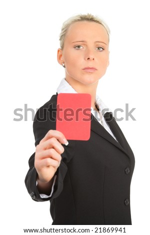 a businesswoman showing the red card - stock photo
