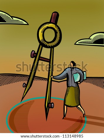 A businesswoman using a giant compass